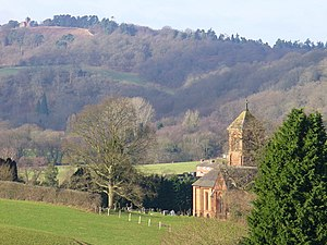 Albury, Surrey - The parish church, field, woods and St Martha's Hill