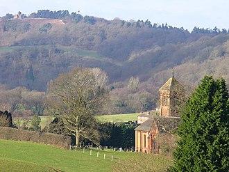Albury, Surrey - The parish church, field, woods and St Martha's Hill