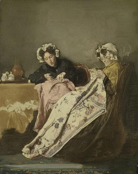 File:Alexander Hugo Bakker Korff - Twee dames bezig met naaiwerk.jpg