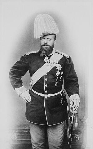 Александр III в датском военном мундире с лентой ордена Слона