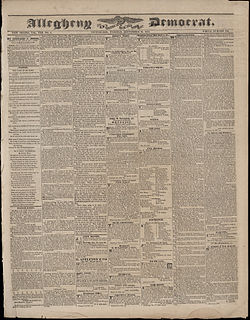 <i>Allegheny Democrat</i> 19th-century newspaper published in Pittsburgh, Pennsylvania, United States