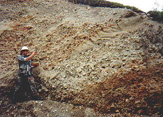 Placer deposit - Section of alluvial placer deposit at the Blue Ribbon Mine, Alaska