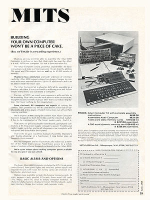 Altair 8800 - A May 1975 advertisement for the Altair 8800 Computer.