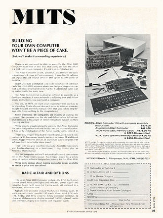 Altair 8800 - A May 1975 advertisement for the Altair 8800 Computer appeared in Popular Electronics, Radio-Electronics, and other magazines.