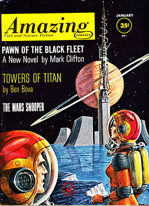 "Ben Bova - Bova's novella ""The Towers of Titan"" was the cover story in the January 1962 issue of Amazing Stories, illustrated by Ed Emshwiller"
