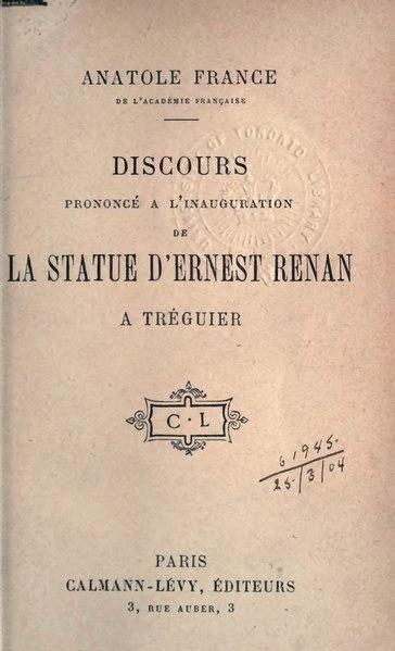File:Anatole France - Discours prononcé à l'inauguration de la statue d'Ernest Renan.djvu
