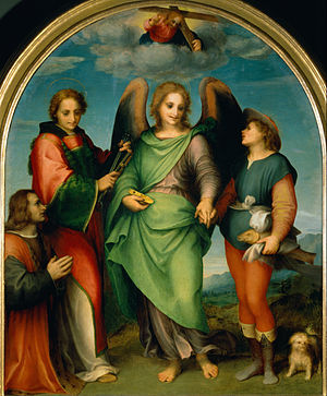 Archangel Raphael with Tobias, St. Laurentius and the donor Leonardo di Lorenzo Morelli
