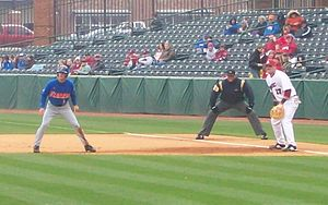 Lead off - Florida outfielder Avery Barnes takes a big lead against Arkansas.