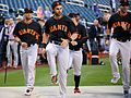 Angel Pagan and the Giants stretch before the NL Wild Card Game. (29544386313).jpg