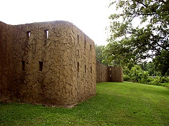 Angel Mounds - A section of reconstructed palisade at Angel Mounds