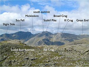 Sca Fell - Image: Annotated Scafell range