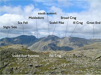 Southern Fells - Image: Annotated Scafell range