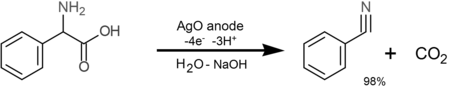 Anodic Silver(II) oxide oxidation of alpha amino acids to nitriles