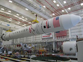 Antares (rocket) - An assembled Antares rocket in the Horizontal Integration Facility