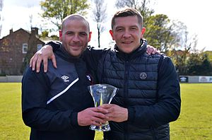 Salford City F.C. - Bernard Morley (left) and Anthony Johnson were appointed joint-managers in January 2015.