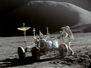 Apollo 15 - Jim Irwin with the Lunar Roving Vehicle on the first lunar surface EVA of Apollo 15