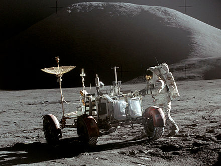 Lunar Roving Vehicle used on Apollos 15-17 Apollo 15 Lunar Rover and Irwin.jpg