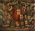 Apoteosis Heraldica 1681 Museo de Historia de la Ciudad,Barcelona, i 4 mori sardi sono nettamente distinti iconograficamente dai 4 mori d'Aragona.JPG