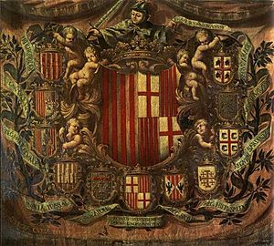Flag of Sardinia - Apoteosis Heraldica 1681 Museo de Historia de la Ciudad,Barcelona, The four moors of Sardinia differ from those of Aragon: the former have only the bandage on his forehead, the seconds are crowned and bearded