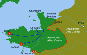 Battle for Brest - NW France by mid-August, 1944. The Allies manage to occupy the Breton countryside and are already moving east towards Paris. The blue arrows represent the approach routes to Brest and other ports