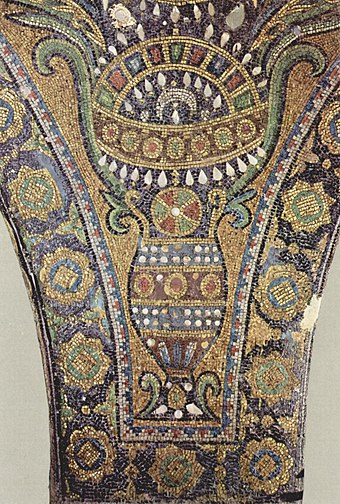 Islamic mosaics inside the Dome of the Rock in Palestine (c. 690) Arabischer Maler um 690 002.jpg