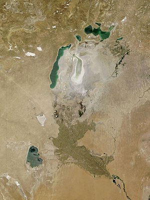Sarygamysh Lake - Sarykamysh Lake at lower left, Oxus delta and what is left of the Aral Sea