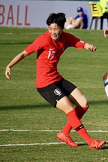 Argentina vs Korea Republic, 2019 Cup of Nations, 2019-02-28 Son Hwa-yeon Agustina Barroso (48780958268) (cropped).jpg