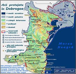 Northern Dobruja - Image: Arii protejate din Dobrogea