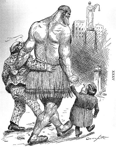 """As they go to the polls""  1900, showing the giant representing the trusts hand in hand with Hanna and McKinley"