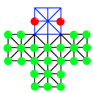 Asalto - Asalto board diagram including fortress (blue) with rebel pieces (green) and officers (red) in their starting positions