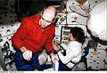 Astronauts Daniel T. Barry and Ellen Ochoa STS096-E-5116 (1 June 1999).jpg