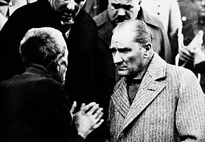 Mustafa Kemal Atatürk, the founder and first president of the Republic of Turkey during one of his national tours