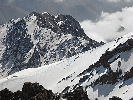 Toubkal, the highest peak in Northwest Africa, at 4,167 m (13,671 ft) Atlas Mountains snow cover.jpg