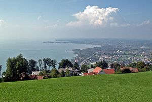 View from mount Pfänder of Bregenz and the lake (with Lindau in the background).