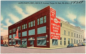 History of Chrysler - Dealership, offering Chrysler, DeSoto, Dodge (Trucks), Plymouth and Mopar parts (ca. 1930–1945).