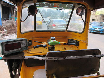 The interior of an auto rickshaw in Chennai, India. - Auto rickshaw