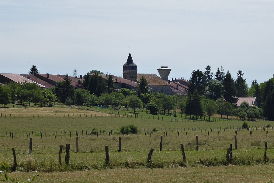 Autreville dans le département des Vosges en France, vue depuis la rue des Quemines.