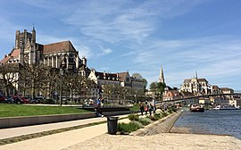 Auxerre, Cathedral and Abbey by Yonne riverfront