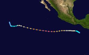 1973 Pacific hurricane season - Image: Ava 1973 track
