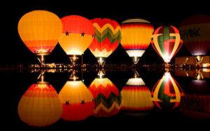 "Eden Park (Cincinnati) - ""Balluminaria"" hot air balloons glow."
