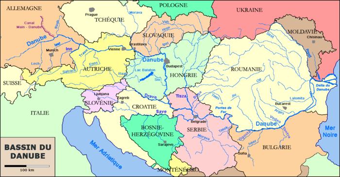 Carte politique du bassin du Danube