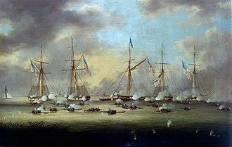 """Battle of Lake Borgne - """"The Battle of Lake Borgne"""" by Thomas Lyle Hornbrook."""