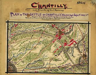 "Chantilly, Virginia - During the Civil War, Chantilly stretched to the intersection of West Ox Road and Monument Drive, shown in this original map of the Battle of Chantilly at the ""GAP"" between the two railroad grades to the immediate southeast of ""A.P. Hill"""