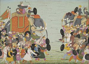 Jarasandha - Battle between Balarama and Jarasandha. Illustration from a Bhagavata Purana series.