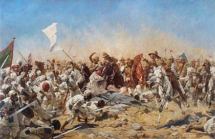 A depiction of the Battle of Omdurman; in the battle, Churchill took part in a cavalry charge Battle of Omdurman.jpg
