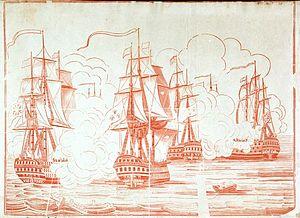 John Houlton Marshall -  The Battle of Trafalgar, 21 Oct 1805; Britannia (left)