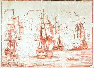 HMS Britannia (1762) - Image: Battle of Trafalgar Britannia Santisima Victory