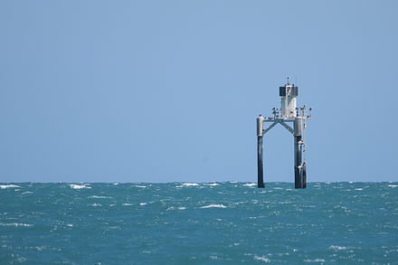 A navigational beacon denoting the presence of Orontes Bank off Port Vincent, South Australia. Beacon at Orontes Bank.jpg