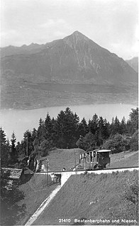 funicular in the Swiss Canton of Berne linking Beatenbucht on Lake Thun to the village of Beatenberg