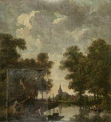 Behangselschildering met een Hollands landschap met rivier